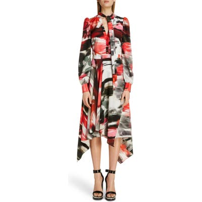 Alexander Mcqueen Rose Print Silk Asymmetrical Long Sleeve Dress, US / 40 IT - Red