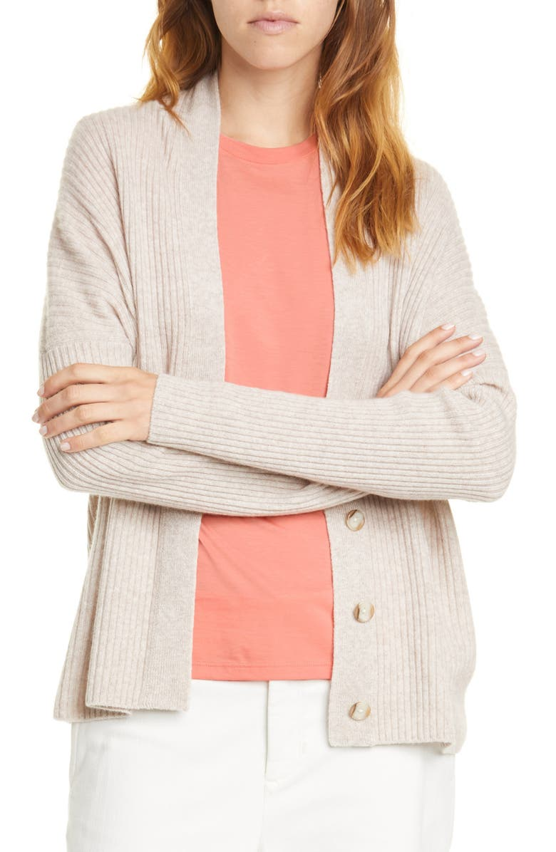 VINCE Rib Wool & Cashmere Cardigan, Main, color, MARBLE