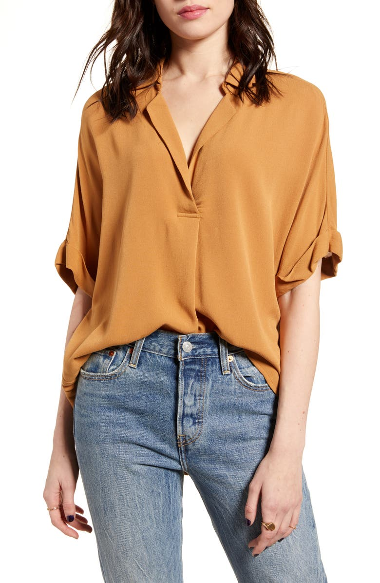 ALL IN FAVOR Button Back Top, Main, color, BROWN SUGAR