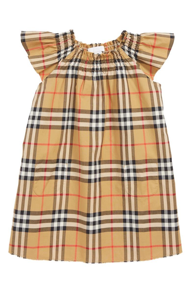 BURBERRY Vinya Shift Dress, Main, color, ANTIQUE YEL IP CHK