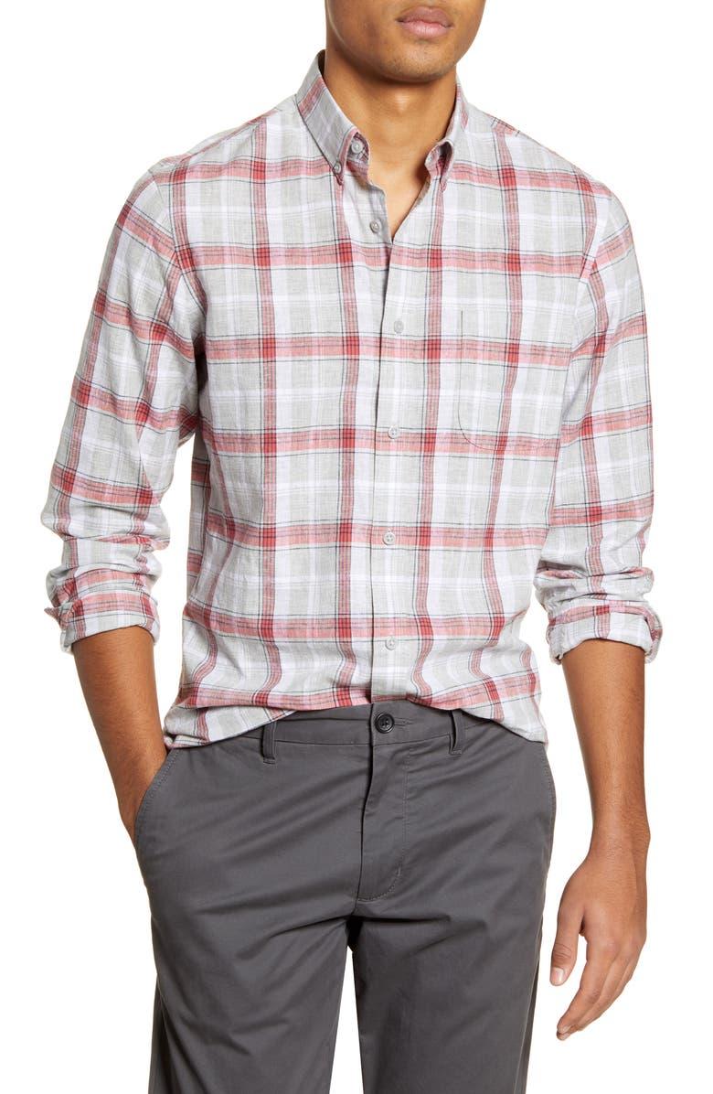 1901 Slim Fit Plaid Linen & Cotton Button-Down Shirt, Main, color, GREY HEATHER RED PLAID