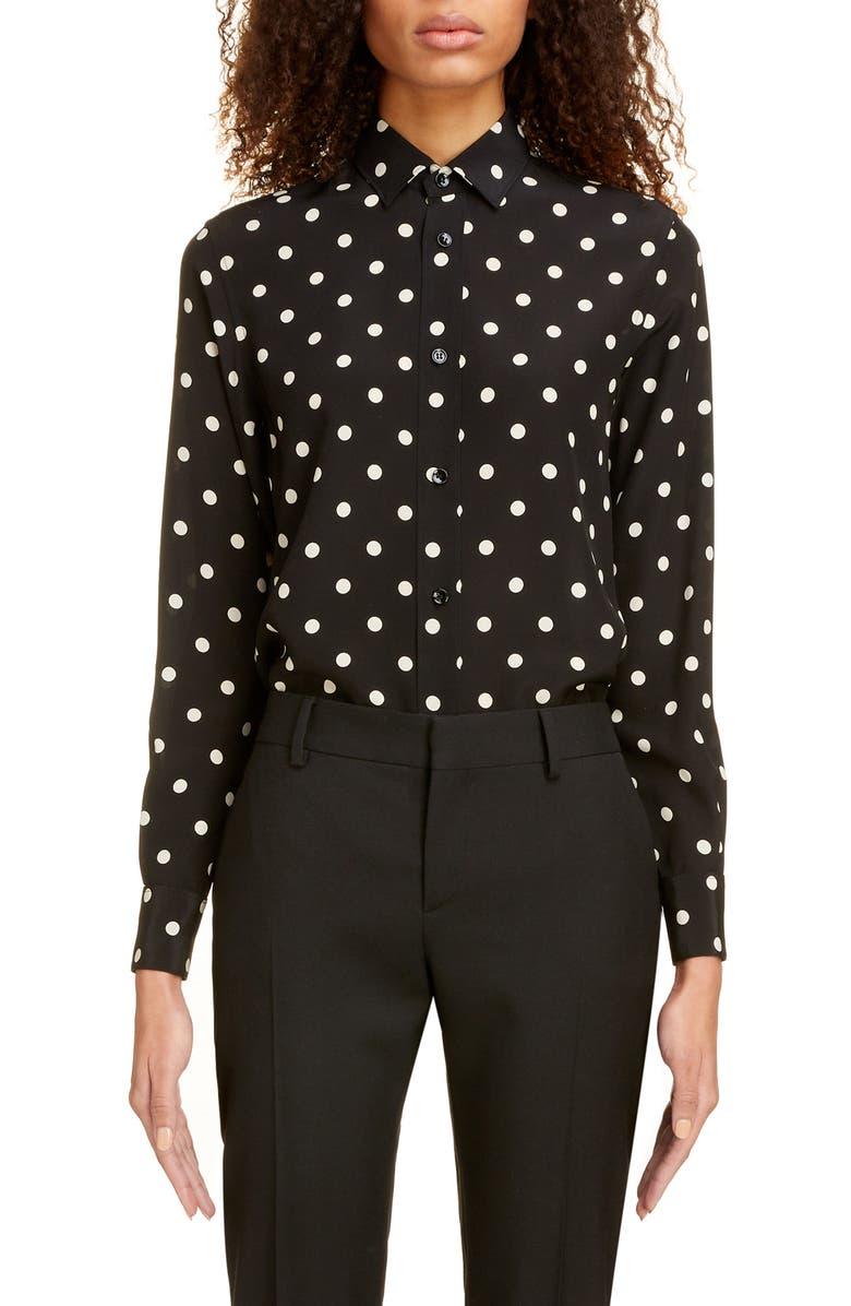 SAINT LAURENT Large Dot Silk Shirt, Main, color, NOIR OFF WHITE