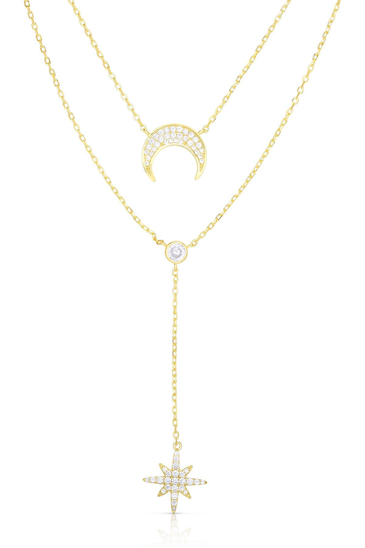 Image of Sphera Milano 14K Yellow Gold Plated Sterling Silver CZ Moon & Star Double Layered Necklace