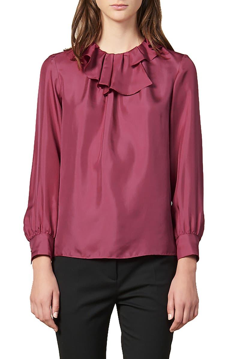 SANDRO Enisa Ruffle Collar Silk Blouse, Main, color, 650