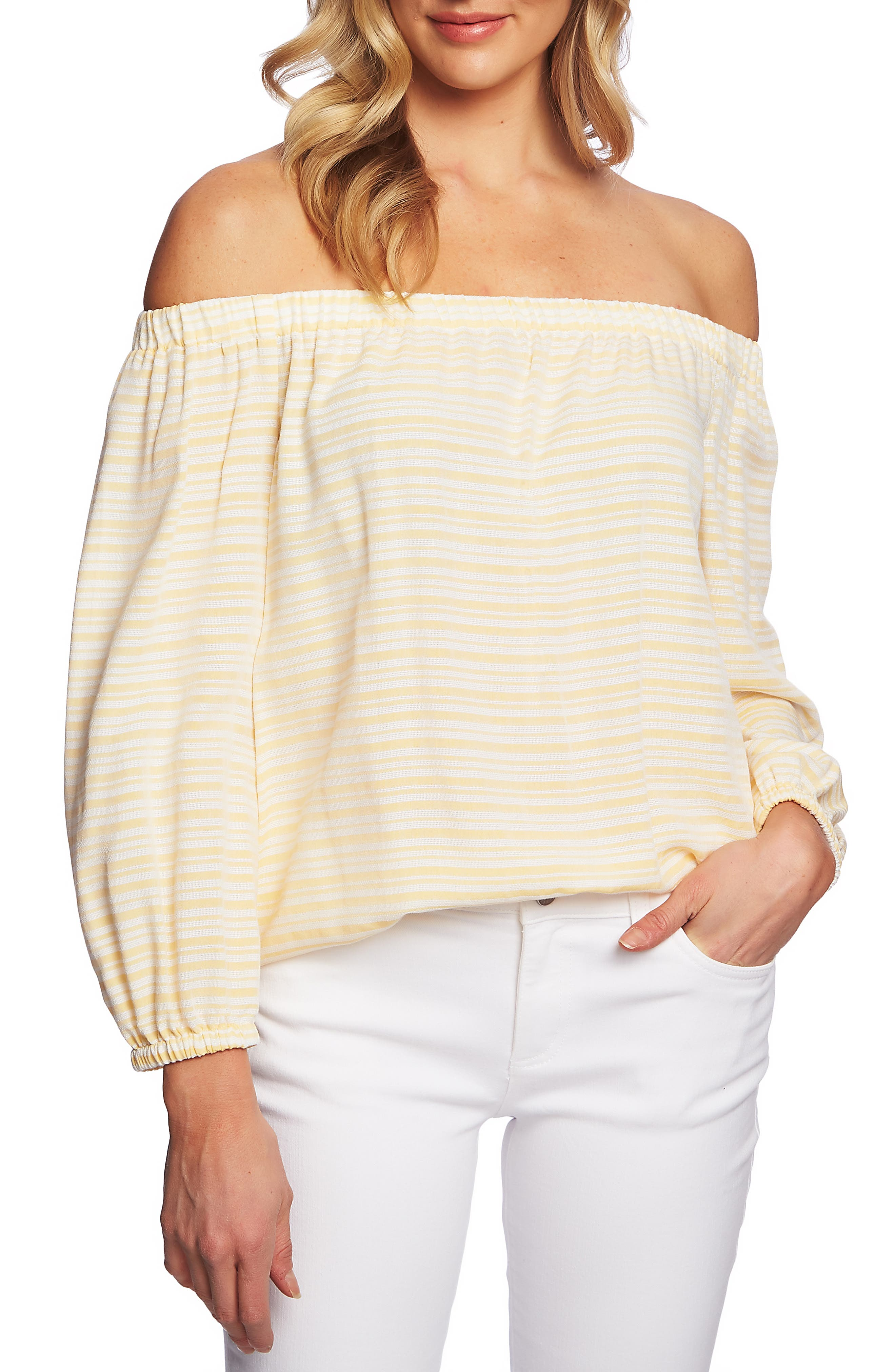 Image of CeCe by Cynthia Steffe Off the Shoulder Jacquard Stripe Top