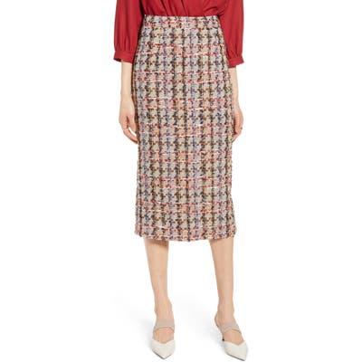 Halogen Tweed Pencil Skirt, Brown