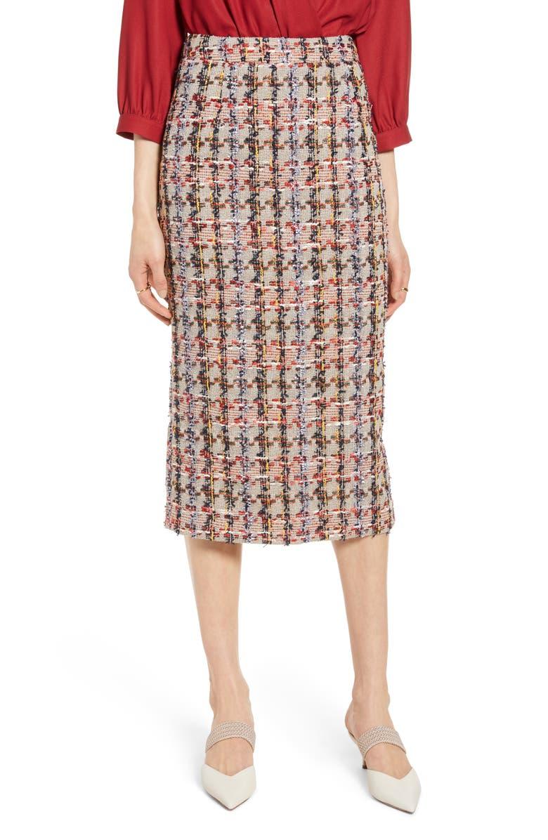 HALOGEN<SUP>®</SUP> Tweed Pencil Skirt, Main, color, TAN MULTI TWEED