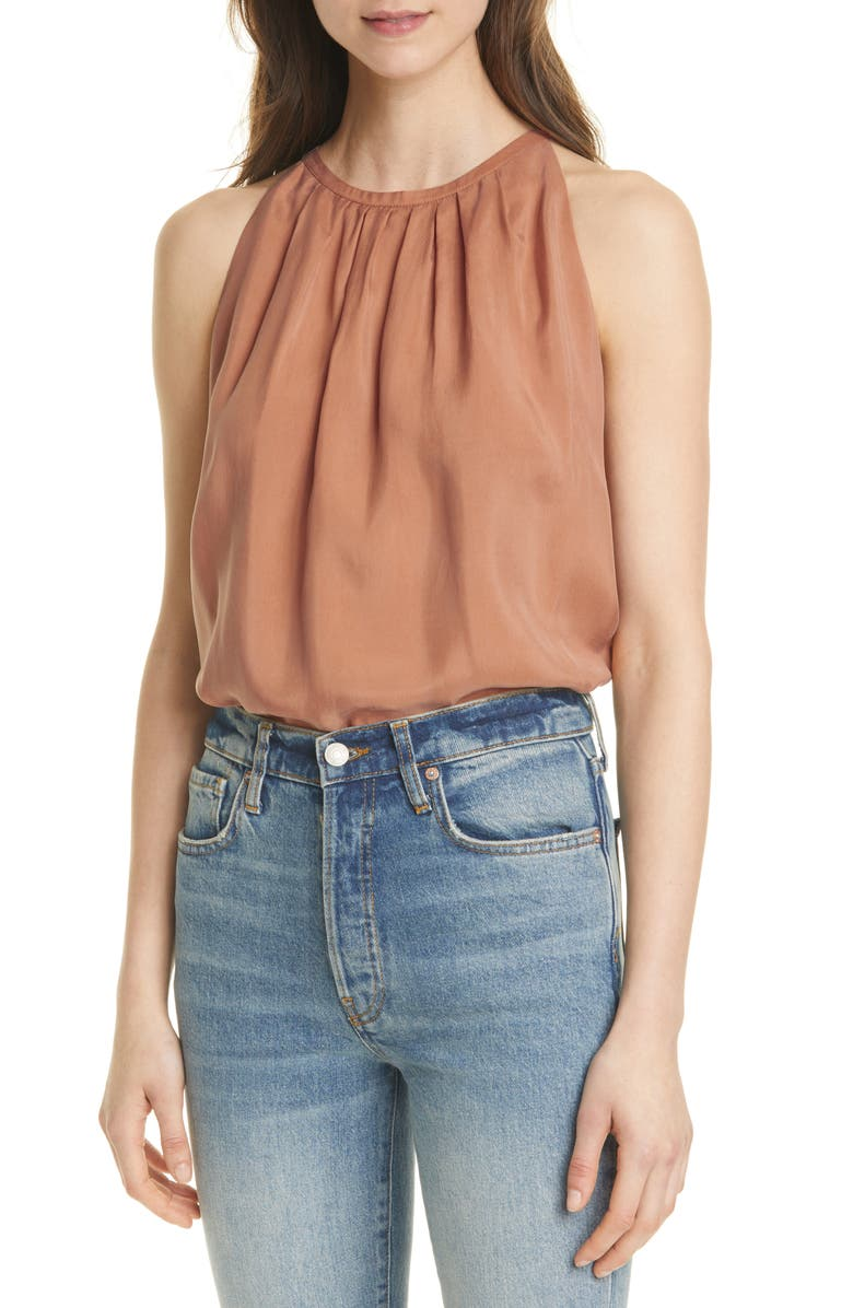 CLUB MONACO Pleat Neck Swing Top, Main, color, SANDSTONE
