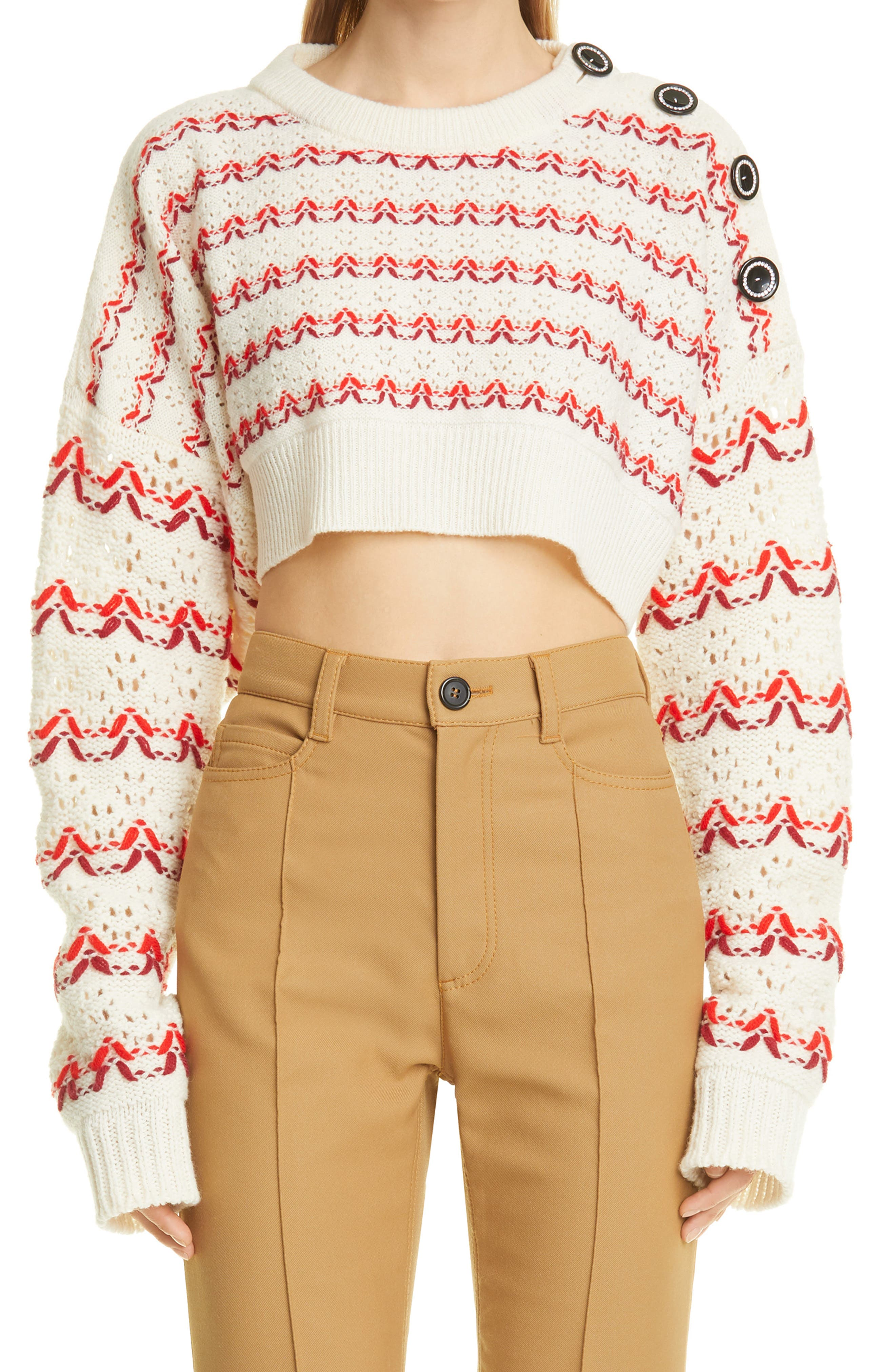 Button Shoulder Embroidered Wool Pointelle Sweater