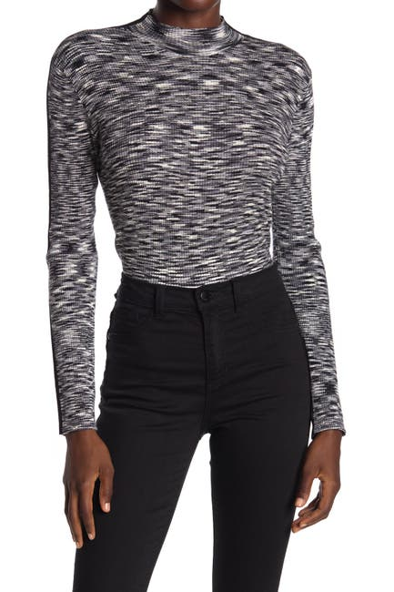 Image of T Tahari Ribbed Long Sleeve Mock Neck Top