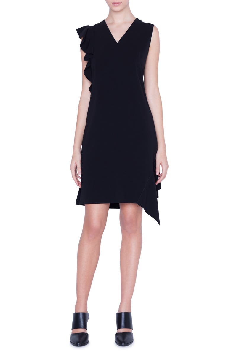 AKRIS PUNTO Ruffle Detail Crepe Dress, Main, color, BLACK