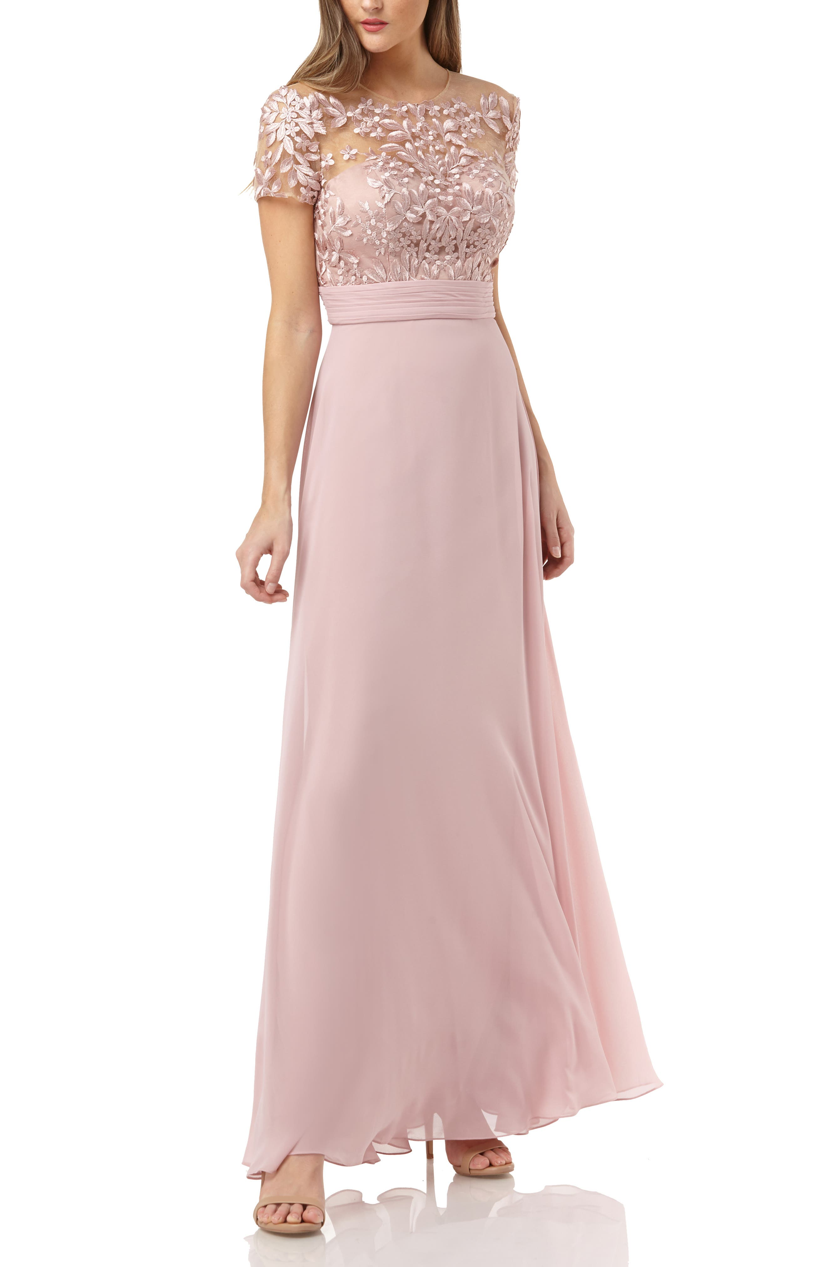 Petite Js Collections Embroidered Illusion Bodice Gown, Pink