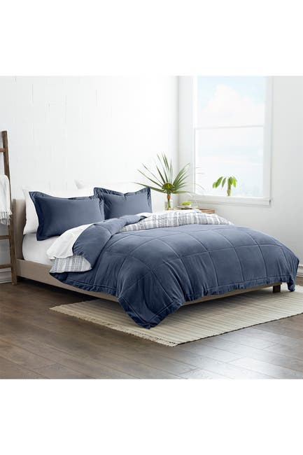 Image of IENJOY HOME Home Collection Premium Down Alternative Farmhouse Dreams Reversible Comforter Set - Navy