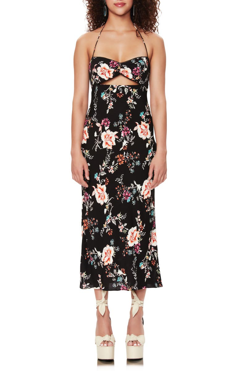 AFRM Hewitt Floral Print Halter Neck Cutout Midi Sundress, Main, color, NOIR SUMMER GARDEN