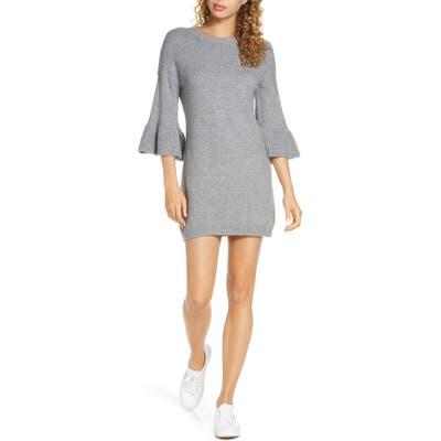 Bb Dakota Let It Snow Ruffle Cuff Sweater Dress, Grey