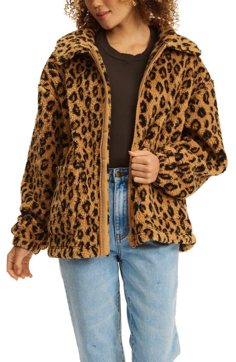 BILLABONG Long Road Faux Fur Jacket, Main, color, LEOPARD PRINT