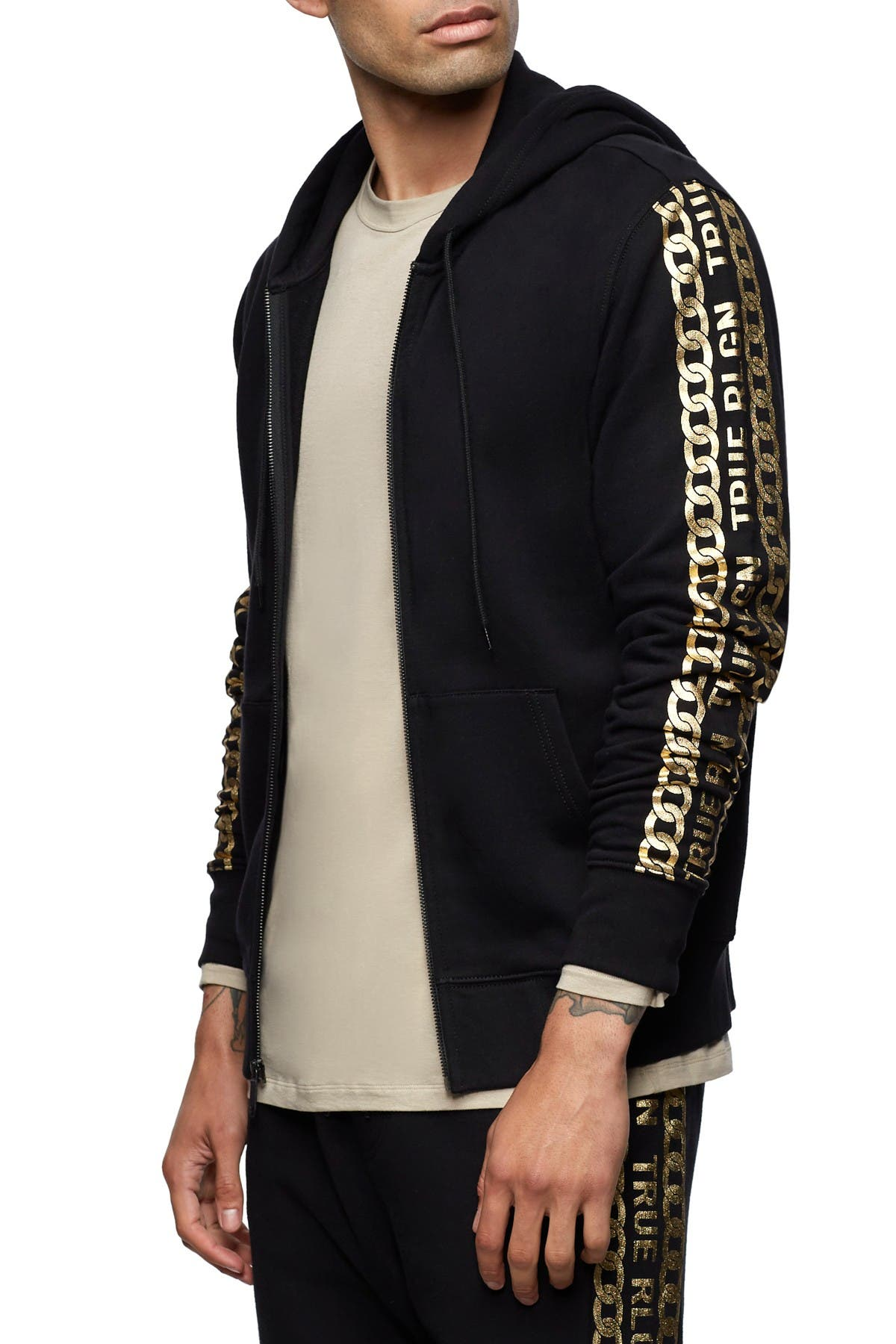 Image of True Religion Graphic Sleeve Zip Hoodie