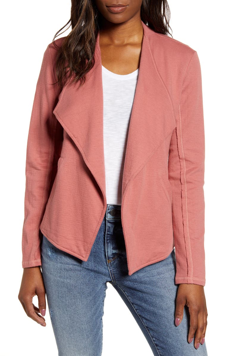 CASLON<SUP>®</SUP> Drape Collar Knit Blazer, Main, color, PINK TAFFY