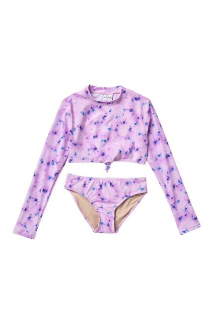 Image of Shade Critters Cropped Rashguard Tie-Die 2-Piece Swimsuit Set