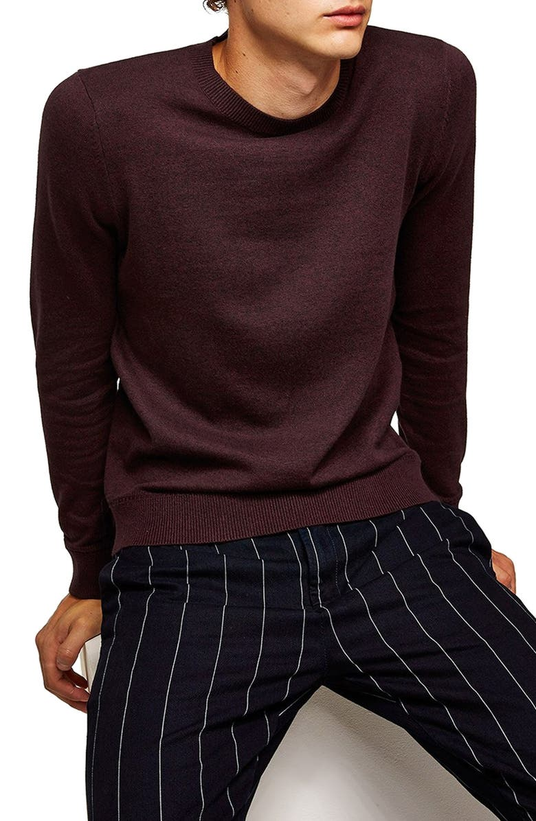 TOPMAN Classic Crewneck Sweater, Main, color, BURGUNDY