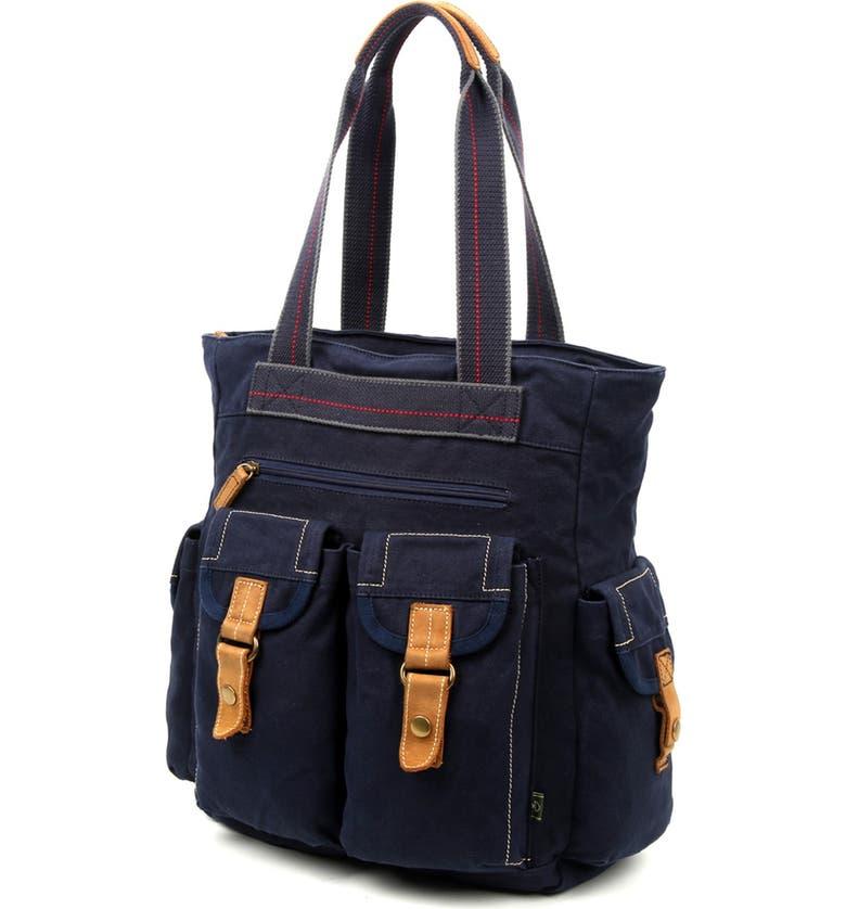 THE SAME DIRECTION Atona Utility Canvas Tote Bag, Main, color, NAVY
