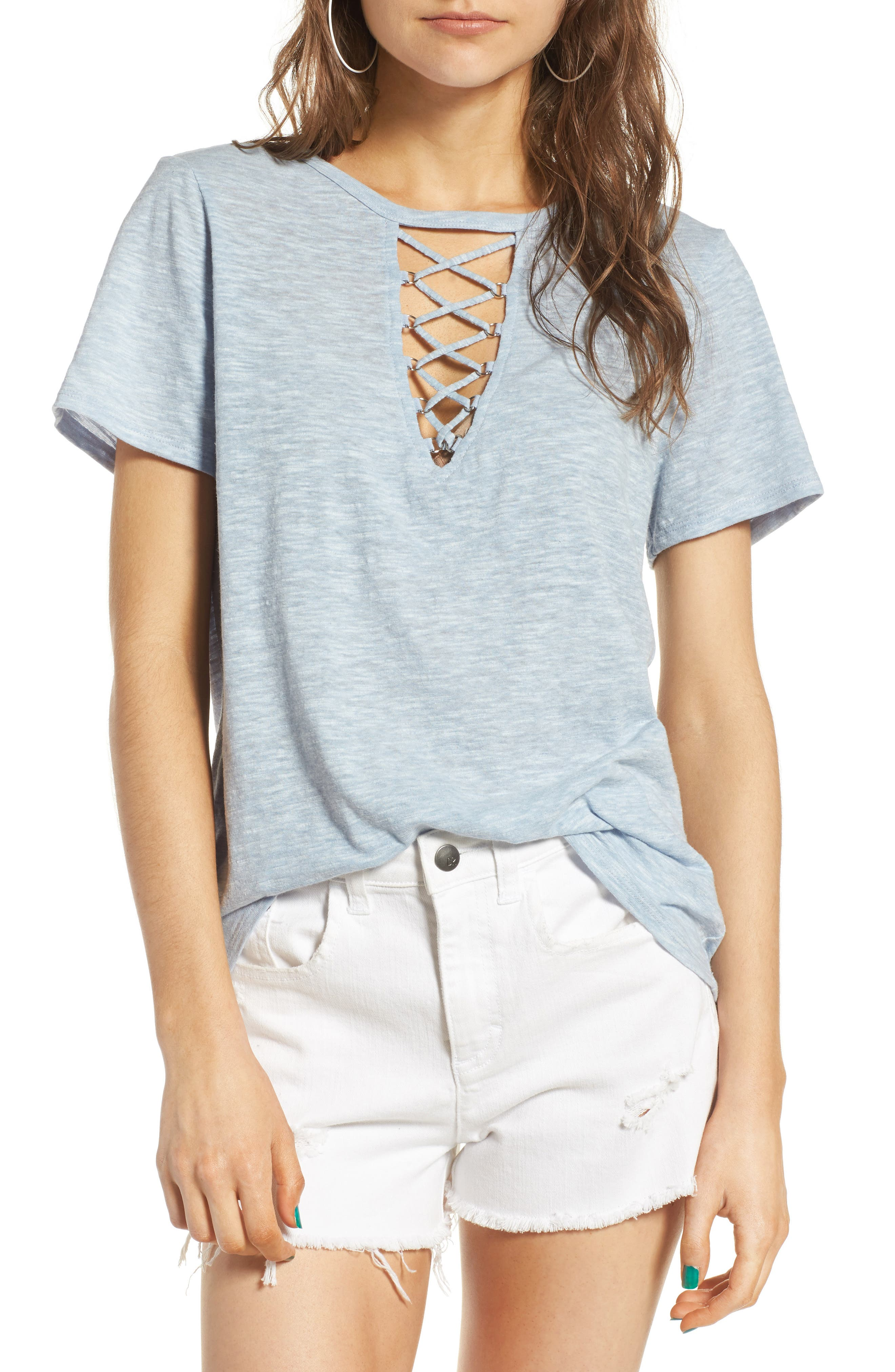 ,                             Grommet Lace-Up Tee,                             Main thumbnail 40, color,                             461