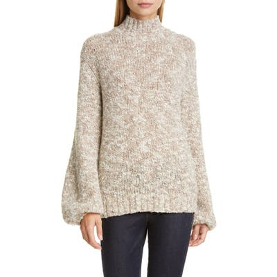 Co Balloon Sleeve Merino Wool Blend Sweater, Beige