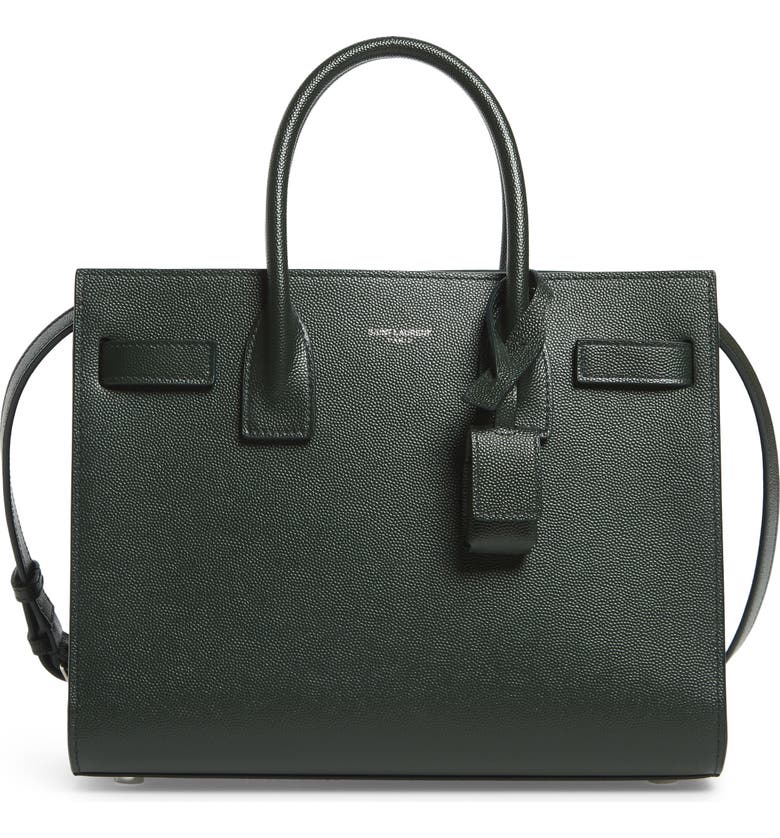 SAINT LAURENT Baby Sac de Jour Leather Tote, Main, color, VERT FONCE