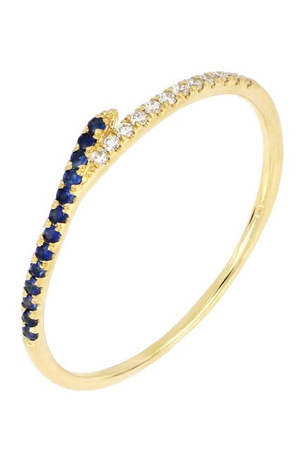 Image of Bony Levy 18K Yellow Gold Sapphire & Diamond Stackable Ring - 0.06 ctw