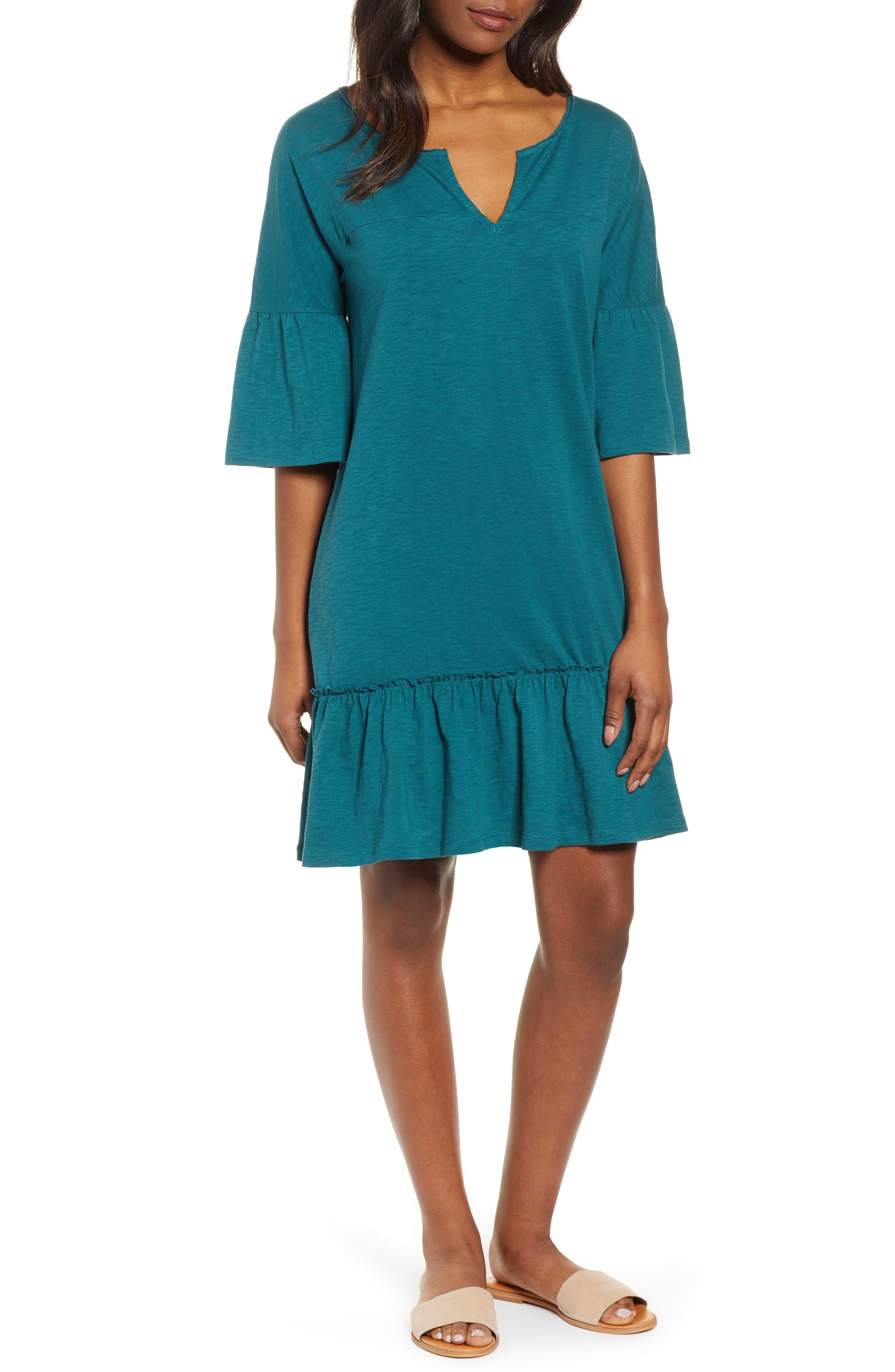 Caslon Ruffle Sleeve Cotton Dress