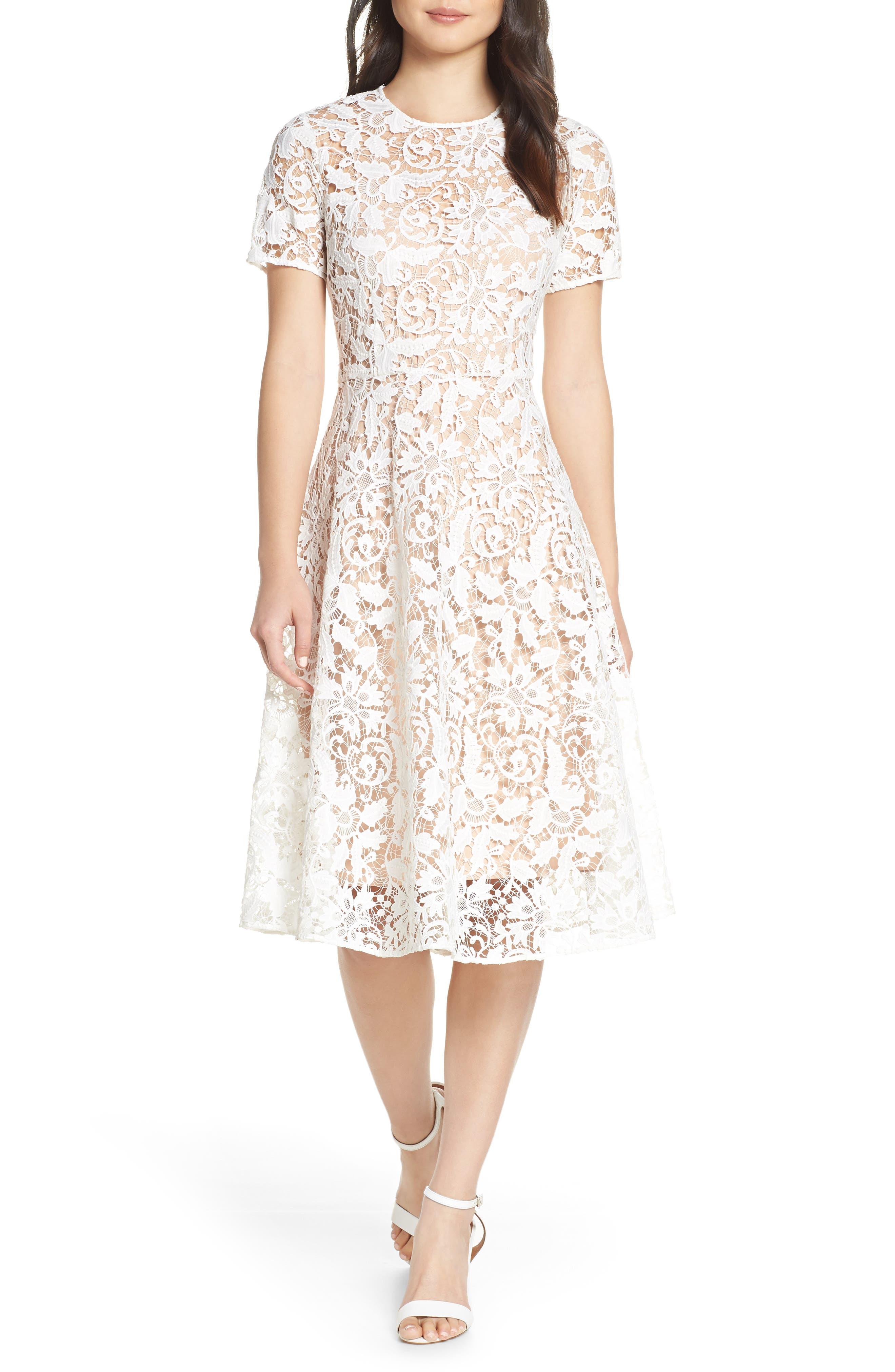 Chelsea28 Floral Lace A-Line Dress, White