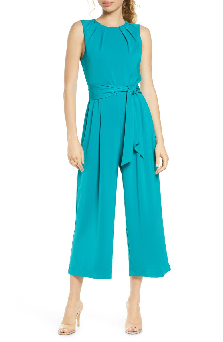 CHARLES HENRY Pleated Neck Sleeveless Culotte Jumpsuit, Main, color, PEACOCK
