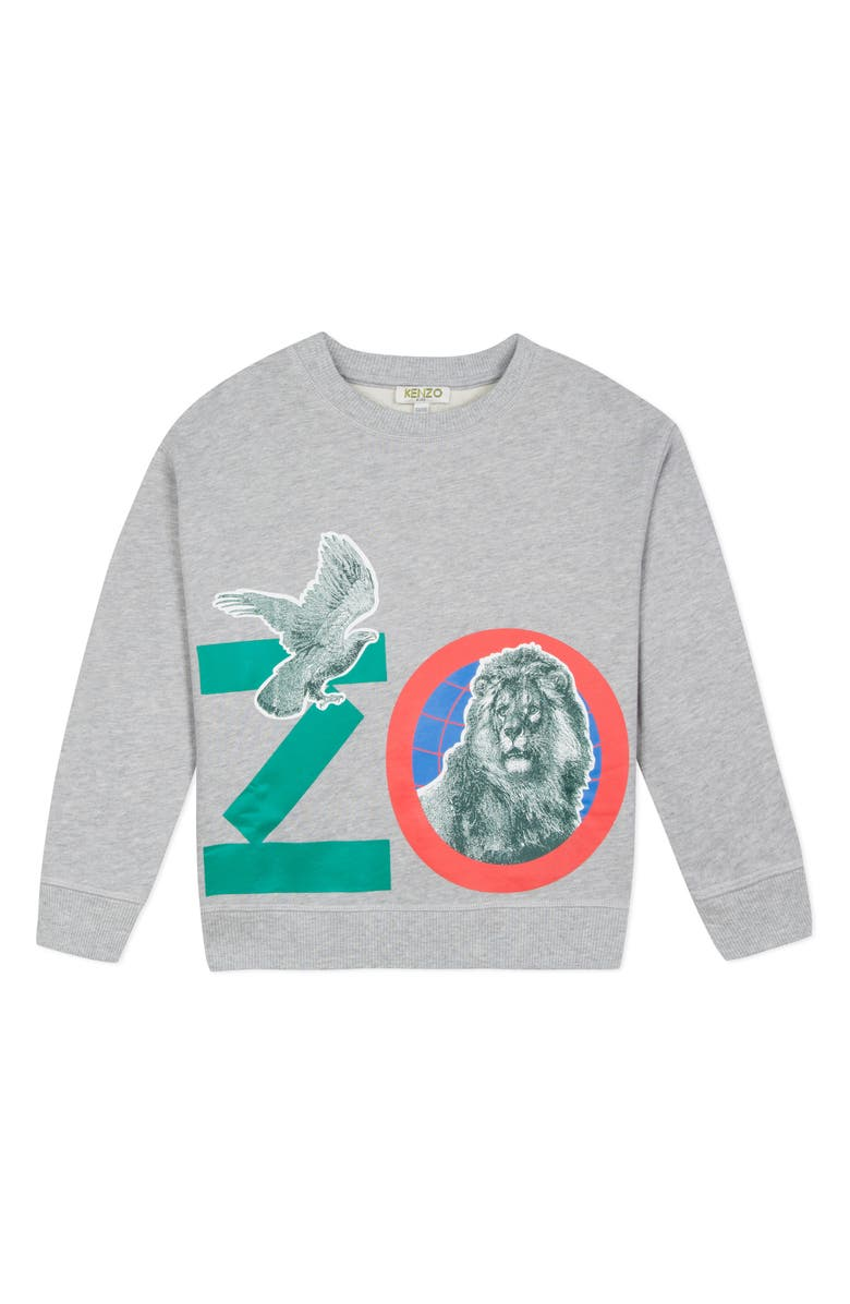 KENZO Logo Print Sweatshirt, Main, color, GREY