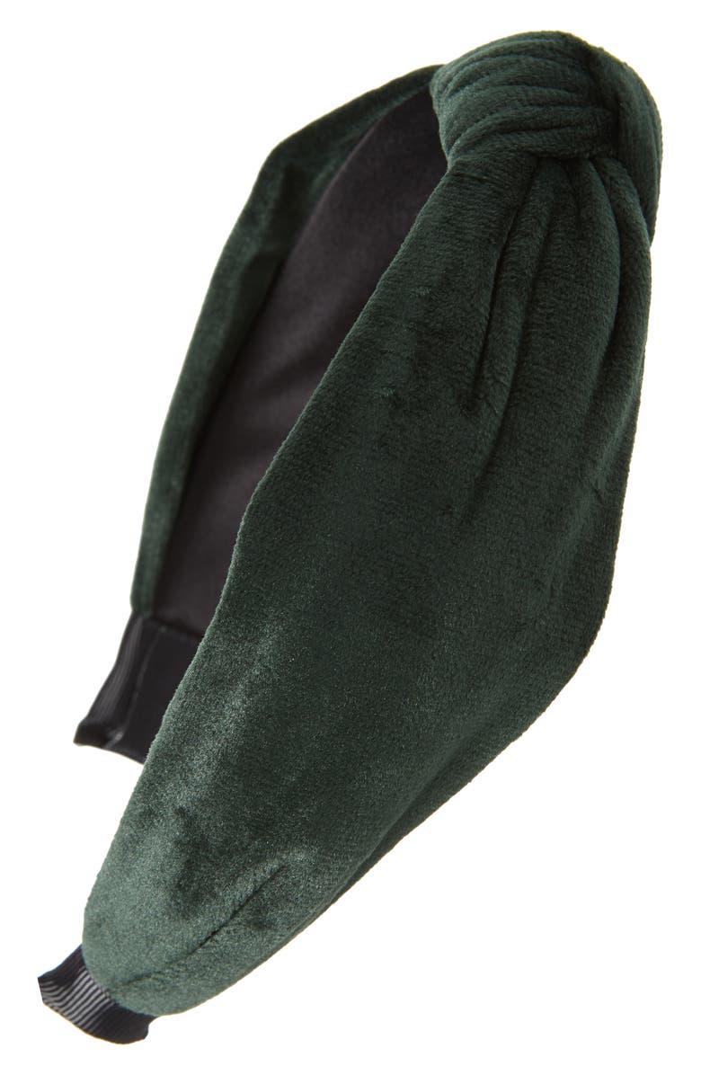 TASHA Knot Velvet Headband, Main, color, EMERALD GREEN