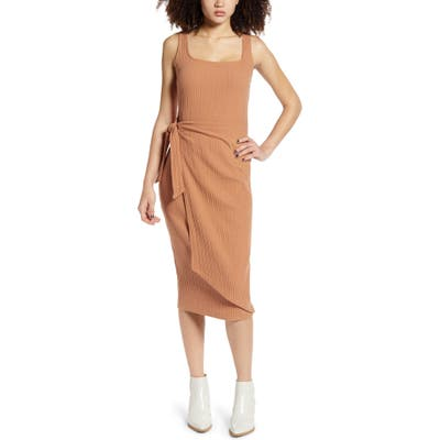 All In Favor Ribbed Tie Waist Tank Dress, Brown