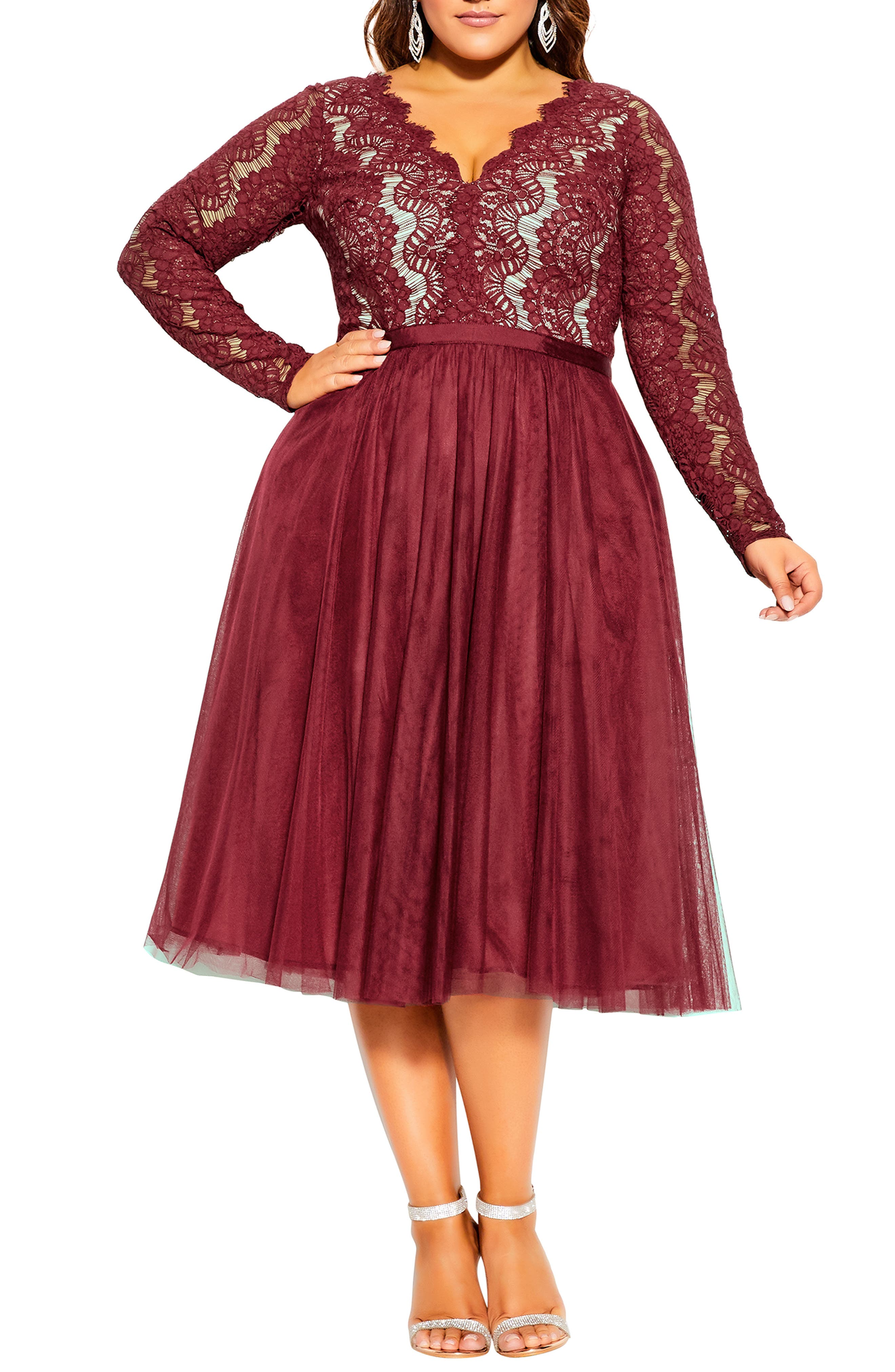 1950s Plus Size Dresses, Swing Dresses Plus Size Womens City Chic Rare Beauty Lace Fit  Flare Dress Size X-Large - Red $118.30 AT vintagedancer.com