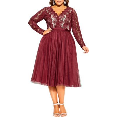 Plus Size City Chic Rare Beauty Lace Fit & Flare Dress, Red
