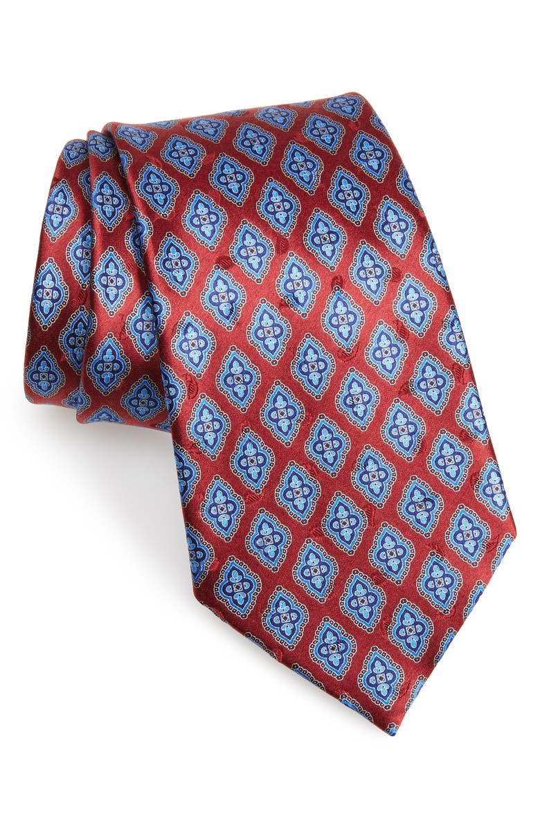 ERMENEGILDO ZEGNA Medallion Silk Tie, Main, color, MEDIUM RED FAN