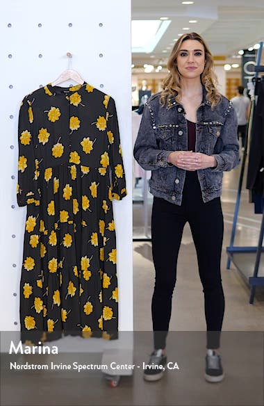 Fall Floral Button Front Tier Dress, sales video thumbnail