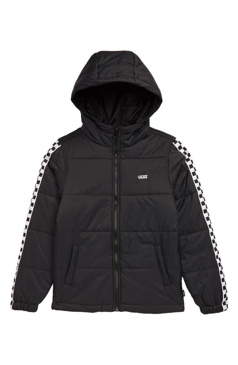 VANS Woodbridge Quilted Hooded Jacket, Main, color, BLACK/ CHECKERBOARD