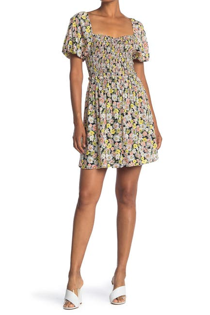 Image of Lush Smocked Sweetheart Mini Dress