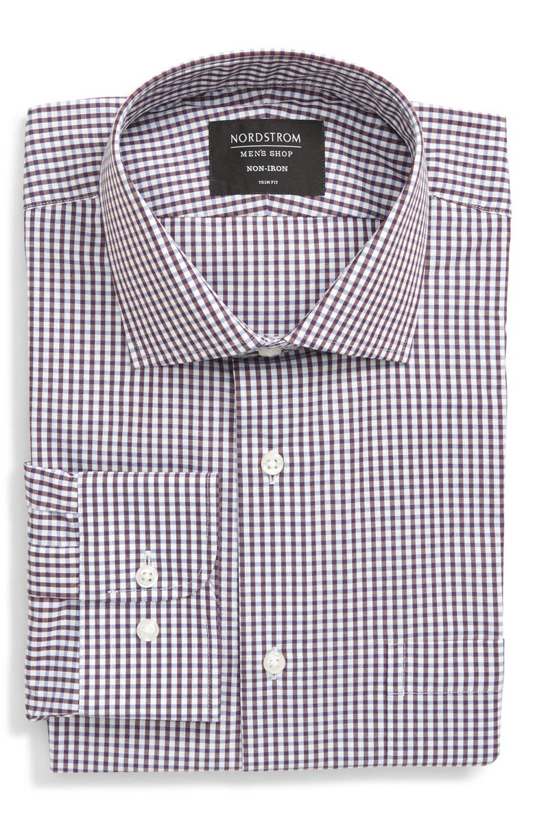 NORDSTROM MEN'S SHOP Trim Fit Non-Iron Check Dress Shirt, Main, color, RED TANNIN