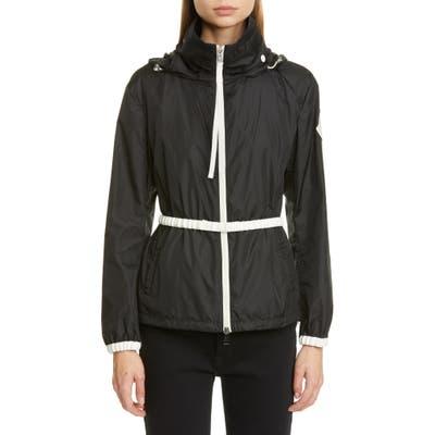 Moncler Hooded Logo Jacket With Belt, 0 (fits like 00-0 US) - Black