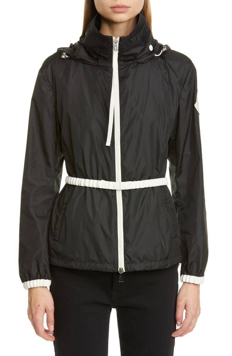 MONCLER Belted Hooded Logo Jacket, Main, color, 999 BLACK
