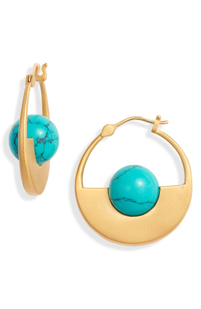 DEAN DAVIDSON Nomad Collection Turquoise Hoop Earrings, Main, color, GOLD/ TURQUOISE