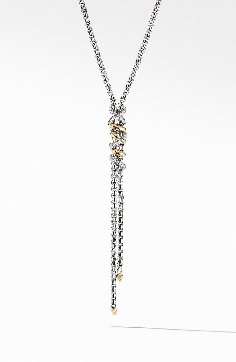 DAVID YURMAN Helena Y-Necklace with 18K Yellow Gold with Diamonds, Main, color, SILVER/ DIAMOND