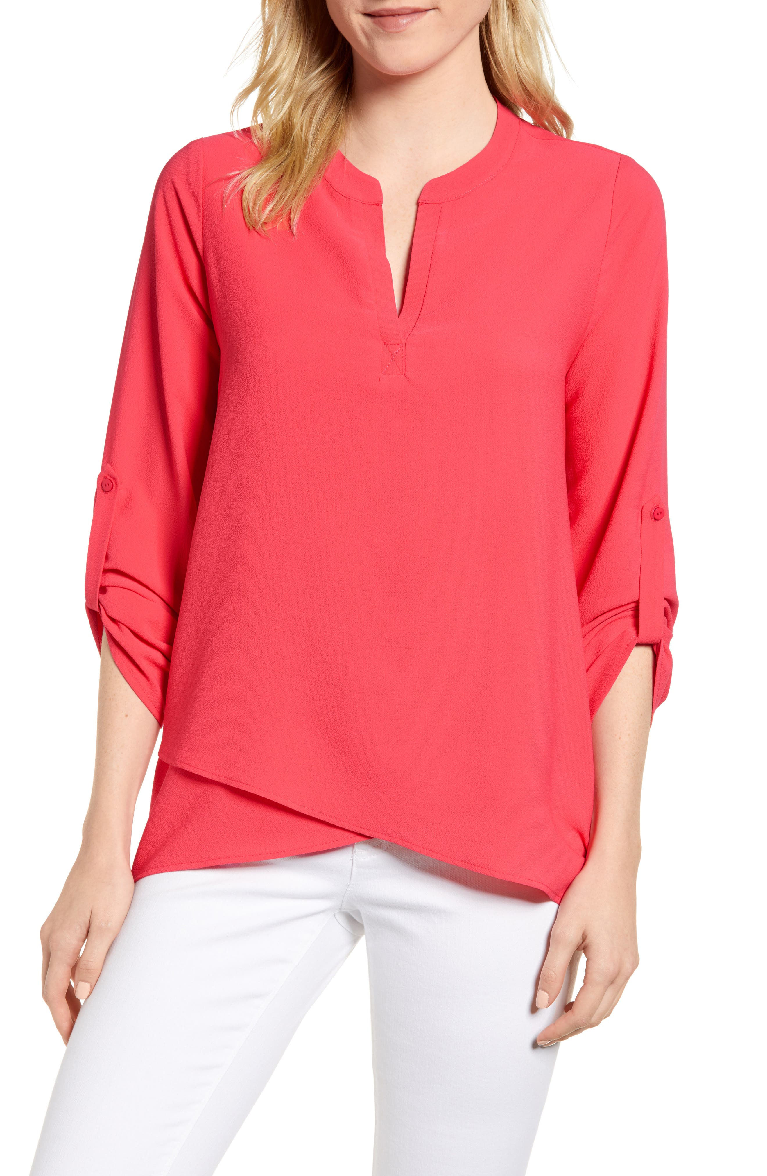 ,                             x International Women's Day Erin Cross Front Tunic Blouse,                             Main thumbnail 66, color,                             651