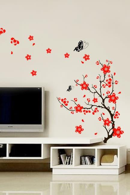 Image of WalPlus Red Blossom Flower Art Wall Sticker