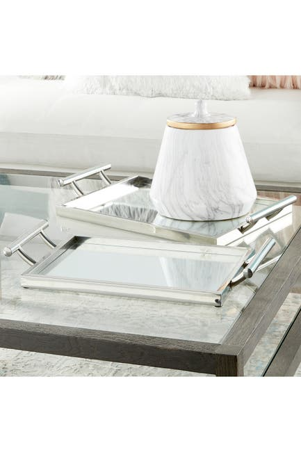 Image of CosmoLiving by Cosmopolitan Reflective Mirror/Polished Silver Glam Tray - Set of 2