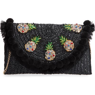 Knotty Straw Clutch - Black